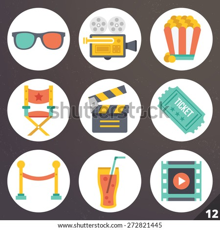 Colorful vector icons for web and mobile applications. Cinema, movie industry and video production concept. Isolated on stylish dark background. Set 12 - stock vector