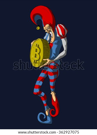 Colorful vector illustration of a Jester or a Joker, holding a Bitcoin. - stock vector
