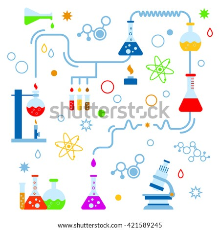 Colorful vector illustration of abstract chemical process with beaker, burner, test tubes, microscope, retorts. Flat design on white isolated background. Concept for chemistry, medicine, science etc - stock vector