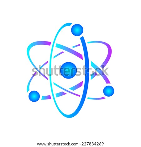 Colorful vector illustration of atom icon on white