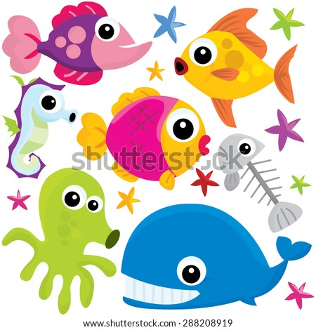 Colorful vector illustration of cute underwater cartoon sea creatures like fishes, crabs and more.