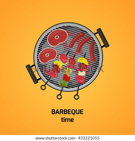 Colorful vector illustration of picnic barbecue. Barbecue and grilled food: sausage, steak, vegetables. Vector. - stock vector