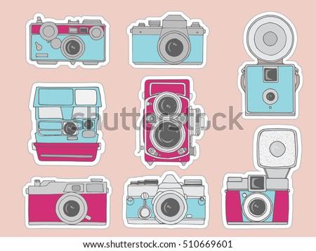 Colorful Vector Illustration Of Retro Camera Set Hand Drawn Vintage Photo Cameras SetCute