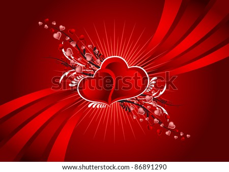 colorful vector illustration of the hearts swirl - stock vector