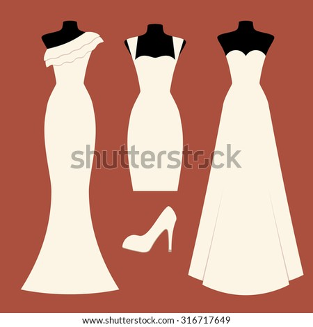 Colorful vector illustration with beautiful bridal dresses and high heel shoes. Set of different types of wedding gowns. Elements for design of invitation card for marriage ceremony. - stock vector