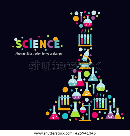 Colorful vector illustration with chemical equipment - beaker, burner, test tubes, microscope, retorts. Flat design on isolated dark background. Concept for chemistry,  science, biotechnology etc - stock vector