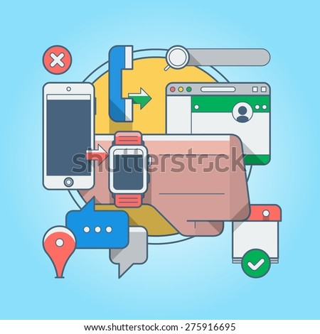 colorful vector illustration with technology - stock vector