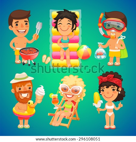 Colorful Vector Illustrations of Happy Cartoon People on the Beach for Your Sea Vacation Projects - stock vector