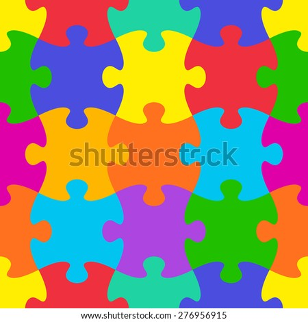 Colorful vector jigsaw puzzle seamless pattern - stock vector