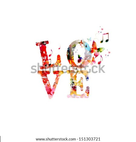 Colorful vector love background with butterflies  - stock vector