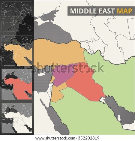 Colorful vector map of the Middle East - stock vector