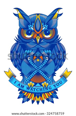 Colorful vector owl - stock vector