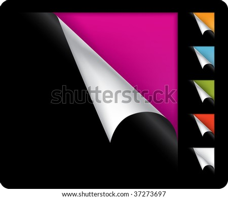 Colorful vector page curled corners on black background