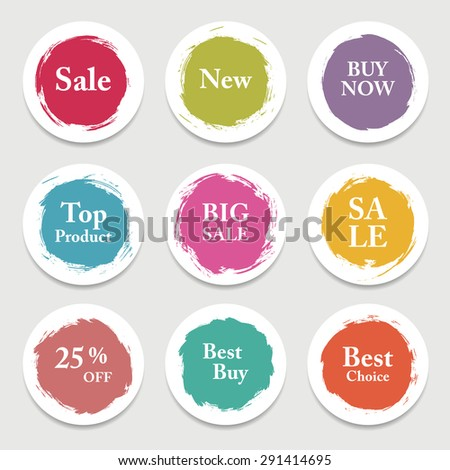 Colorful vector paper circle, sticker, label, banner with brush strokes.  - stock vector