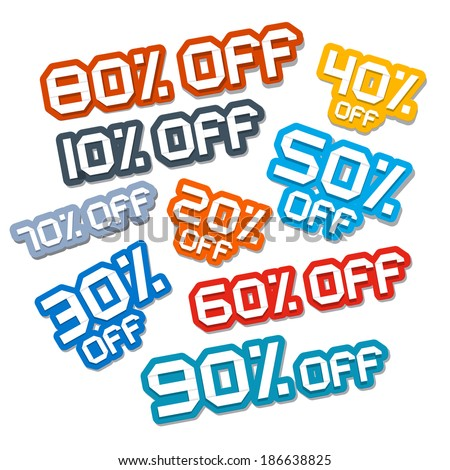 Colorful Vector Paper Cut Discount Stickers, Labels Set - stock vector