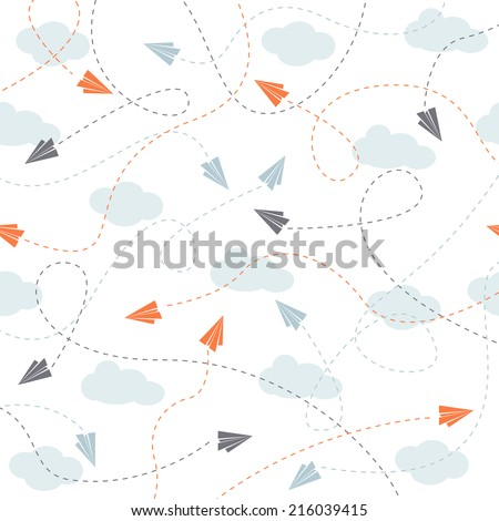 colorful vector paper planes background - stock vector