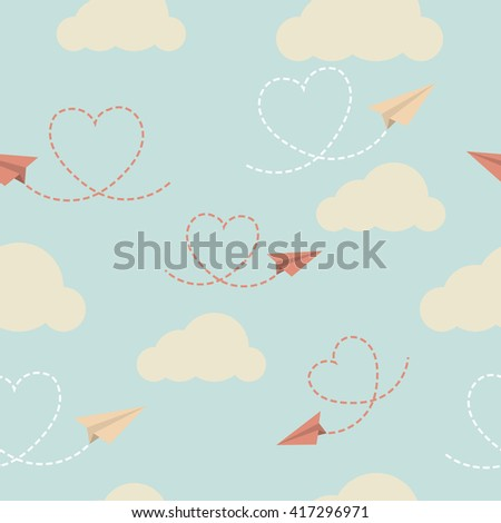 Colorful vector paper planes pattern with blue background - stock vector