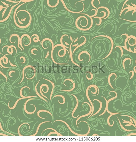colorful vector pattern with curl branches for use as a design
