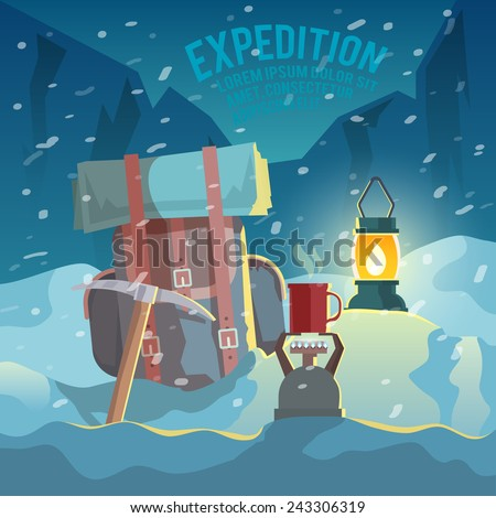 Colorful vector poster. Quality design illustrations, elements and concept. Conquering the summit. Expedition. - stock vector