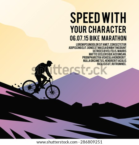 Colorful vector poster. Quality design illustrations, elements and concept. Mountain biking. - stock vector
