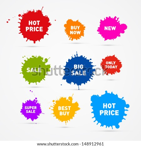Colorful Vector Sale Blots Icons  - stock vector