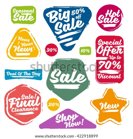 Colorful Vector Sale Tags In Grunge Style. Big Sale, Special Offer, Hot Sale, Final Clearance Sale, Seasonal Sale, Deal Of The Day, Discount, Shop Now, 70% off, 50% off, 30% off, 20% off, 10% off. - stock vector
