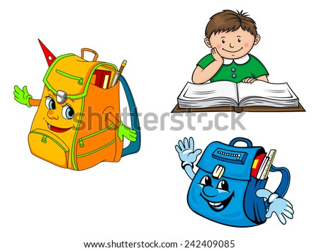 Colorful vector school education icons with a young boy sitting at a desk studying and backpacks with smiling faces - stock vector