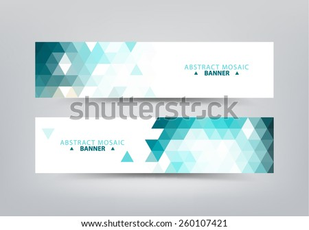 Colorful vector set of colorful geometric, abstract mosaic banners. - stock vector