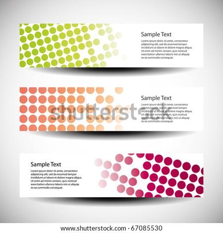 Colorful vector set of three header designs - stock vector