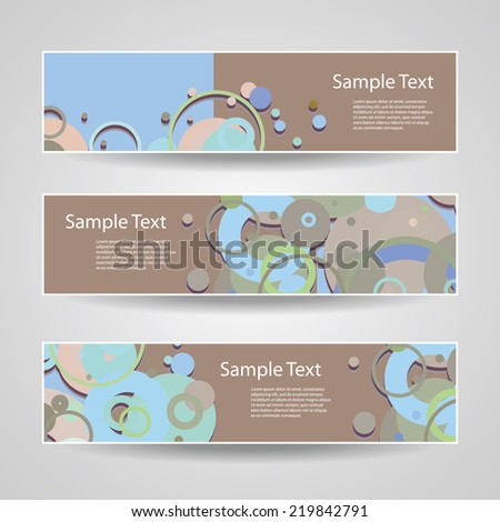 Colorful Vector Set of Three Header Designs with Dots, CIrcles, Rings - stock vector