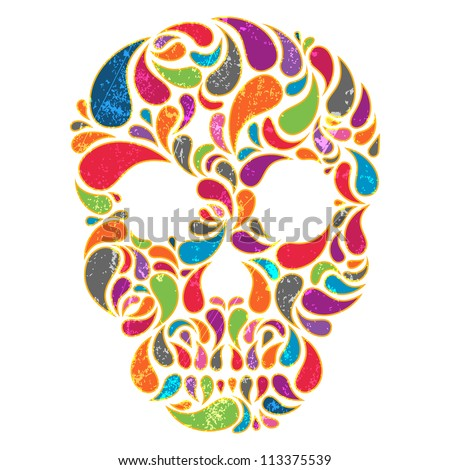 Colorful  vector skull with grunge effect. EPS 10 vector illustration. - stock vector