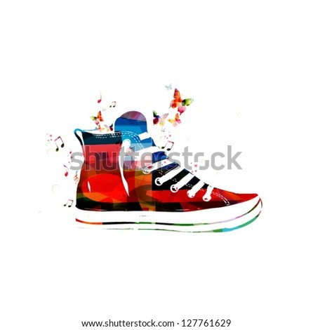 Colorful vector sneaker background with butterflies - stock vector