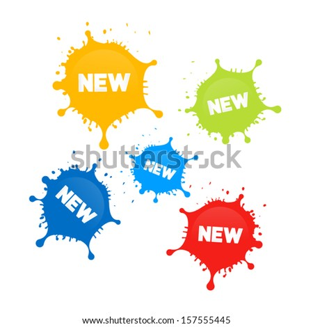 Colorful Vector Stains, Splashes With New Title  - stock vector