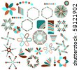 Colorful vector symbol collection over white background - stock photo