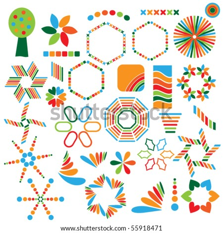 Colorful vector symbol collection over white background - stock vector