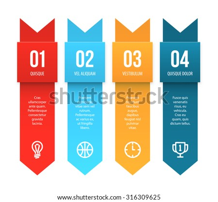 Colorful vector tags with placeholders as presentation elements isolated on white. Paper strips with numbers and sample text. - stock vector