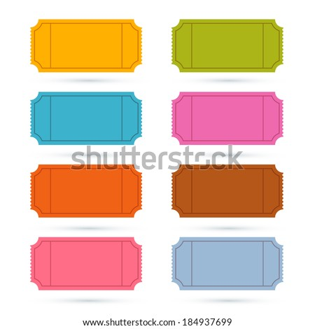 Colorful Vector Ticket Set Illustration  - stock vector