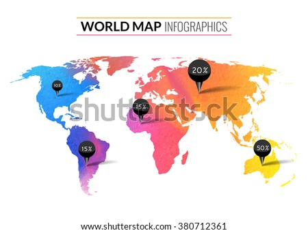 Colorful vector watercolor world map infographics. World map wallpaper atlas. Travel earth - stock vector