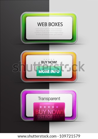 Colorful vector web 2.0 boxes - stock vector