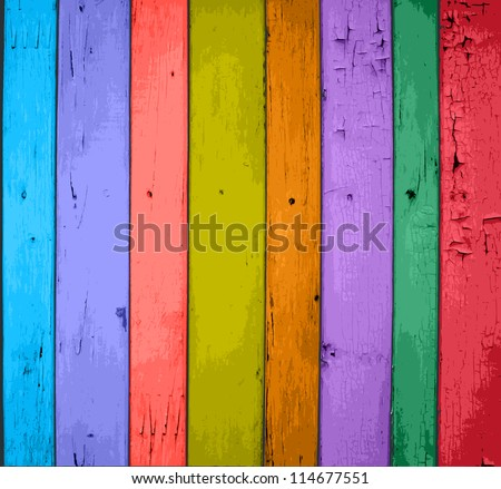 Colorful Vector Wooden Planks Background - stock vector