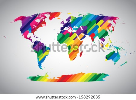Colorful vector world map - stock vector