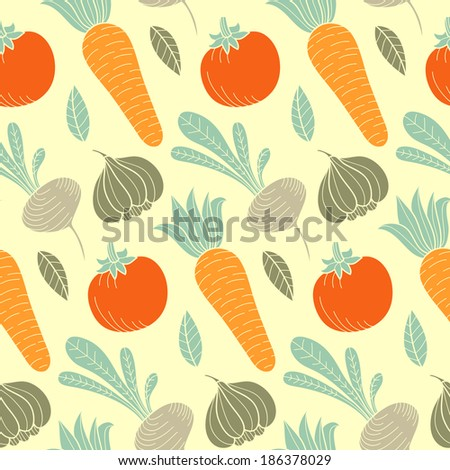 Colorful vegetable vector seamless pattern with carrot, tomato, turnip, radish, garlic and leaf. Organic food hand drawn background - stock vector