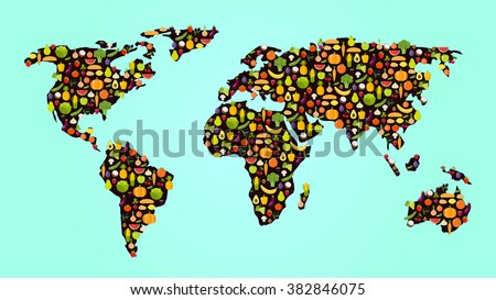 colorful veggie food map with fruits and vegetables in flat design - stock vector