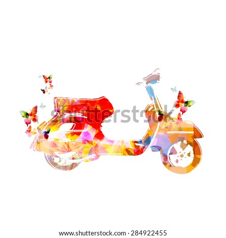 Colorful vespa with butterflies, flower ornamented design  - stock vector