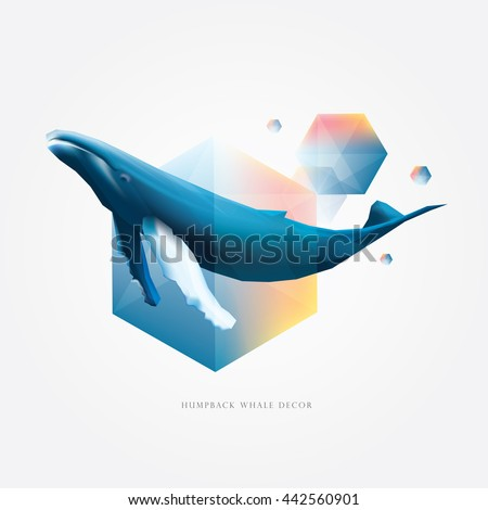 Colorful vibrant geometric polygonal design elements with Humpback whale decoration, vector illustration - stock vector