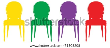 Colorful vintage chair silhouettes - stock vector