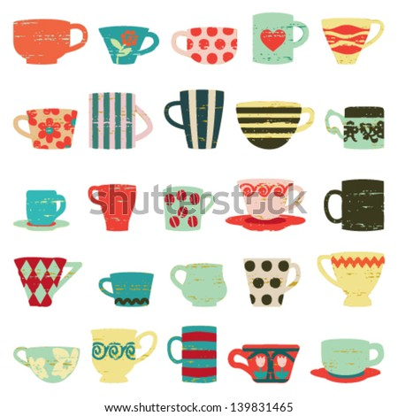 Colorful vintage cups and mugs - stock vector