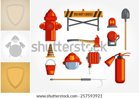 Colorful vintage flat icon set or illustration for infographic. Equipment for firefighter or volunteer. - stock vector