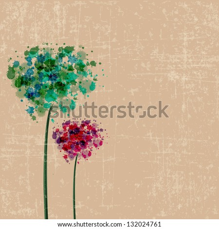 colorful vintage flower background vector - stock vector