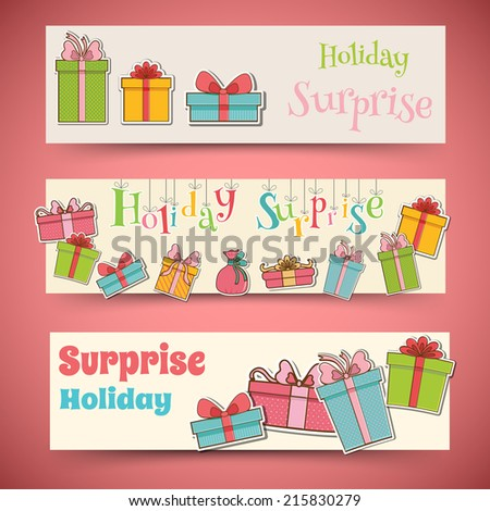 colorful vintage gift postcard banners concept. Vector illustration design - stock vector